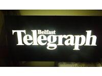Belfast telegraph vintage exterior light up sign rare double sided.. huge with bracket