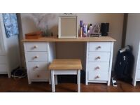 Rustic/Country Style Dressing/Vanity Table with Stool