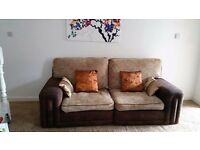 LARGE LIGHT BROWN CHENILLE FABRIC SOFA.