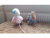 Beatrix Potter Peter Rabbit wooden pull along baby toy
