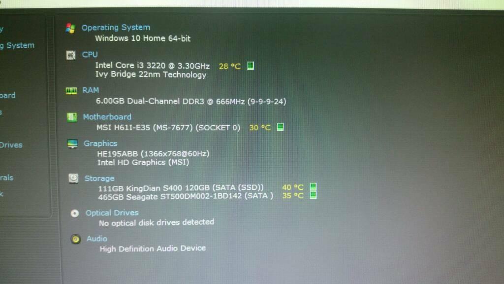 Windows 10 Computer 120gb SSD Quad i3 4x3 3GHz 500gb HDD 19
