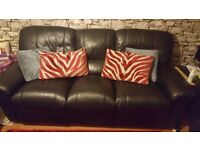 2 x reclining black leather sofas for sale