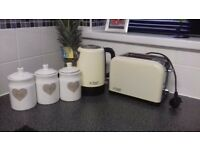 kettle toaster and tea coffee sugar set
