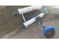 Wetline 265 Inflatable SIB Tender/Dinghy/Rowing/Boat - brand new oars, foot pump and road trailer