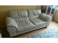 3 seater leather sofa pebble colour