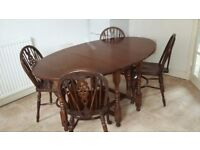 Foldable Dining Table & 4 Chairs - solid oak gate leg table with turned legs - for quick collection