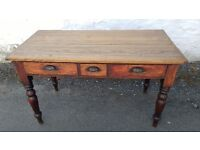 Antique Solid wood 3 drawer Teachers Desk which Extends to make a perfect dining Table
