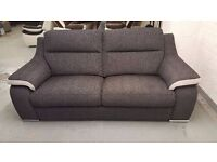 BRAND NEW ScS SiSi ITALIA MATTEO AMALIA CHARCOAL CONTRAST SILVER FABRIC 3 SEATER SOFA *CAN DELIVER*