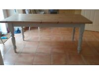 Solid pine scub-top kitchen table with pale grey painted legs