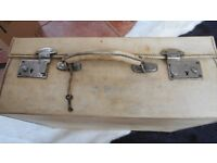 Suitcase, Cream Pigskin. made by Boswell, Edinburgh. Initials CMF. Silk lined. Key attached.