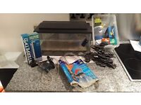 Glass fish tank with air pump and accessories