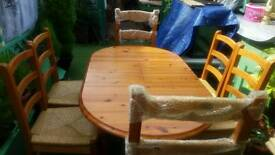 Solid pine table and chairs farmhouse