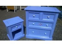 Large pine four drawer chest and matching bedside cabinet