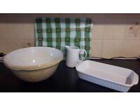 Kitchen Bits & Pieces.....glass chopping board, ceramic mixing bowl, roasting dish and jug