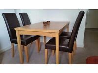 Dining table and chairs - very good condition