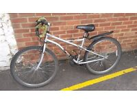 bike with lock, mudguard and cupholder