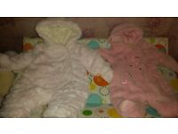 2 baby girls new born snow suits