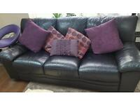 Black leather 3 seater sofa settee