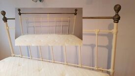 king size cream and Antique brass head board