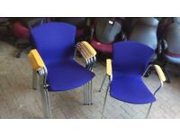 office profesional chair blue conference with wooden arm meeting stacking