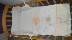 baby crib in oak including mattress and bedding sets