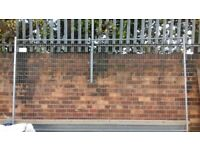 x2 Heras Steel Wire Security Fence Panel. W: 3.5m, H: 2m. & x3 Stabilising Feet