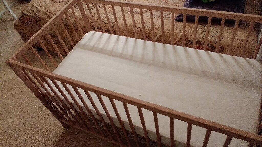 Ikea Cot bed with mattress, Nearly New, pine