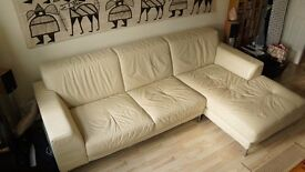 Beautiful Cream leather DFS L shaped Sofa and poof