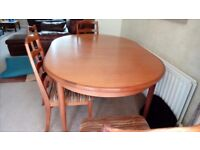 Teak Gplan extendable table and four chairs