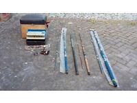 Fishing rods, reel, box, floats, seat / box job lot