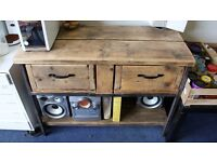 Custom 100x45x75 l Chic Trapezium Wood & Metal Table 2 drawer Sideboard