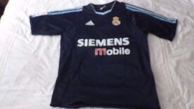 Blue Adidas REAL MADRID 2003-2004 Siemens Away Football Shirt - Size: Adult Small