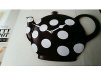 Retro Style Kitchen Wall Clock Teapot Shaped Black And White Spotty Boxed New