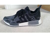 Adidas Originals NMD_R1 Primeknit Glitch Camo Black Grey Men's Limited Style