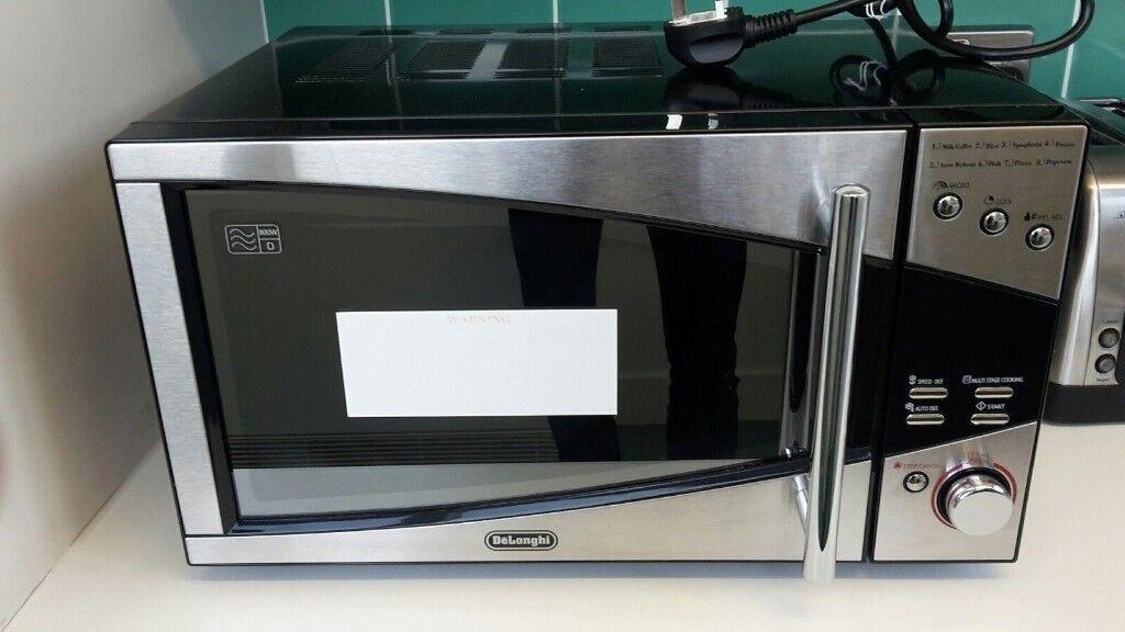 Broken Microwave Delongi P80d20el T5a H Black Silver