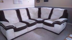 cream and brown corner sofa for sale