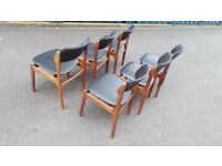 6 X Vintage Danish Solid Wood Erik Buch Dining Chairs