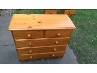 Chest of 5 Drawer Solid Pine