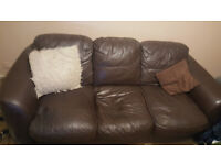 3 seat brown leather sofa and chair plus a free bed