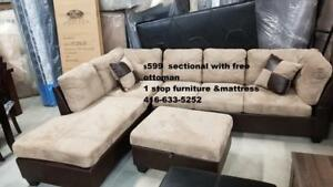 INVENTORY CLEARANCE SALE FABRIC BIG SECTIONAL JUST FOR $599 WITH FREE OTTOMAN
