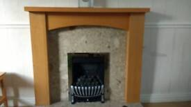 Beech effect mantelpiece