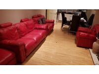 Red Leather Sofas for sale. 1×1 seater, 1×2 seater and 1x3 seater good condition used.
