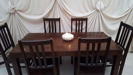 Mango table & 6 chairs, solid wood £125