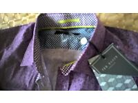 Ted Baker purple paisley mens shirt size 15