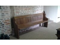 ANTIQUE/VINTAGE SLID OAK CHURCH PEW. GREAT CONDITION