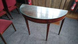 Small antique vintage semi circular desk with glass top