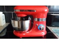 Red Food Mixer with stainless steel bowl