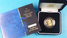 Gold proof sovereign 2001 Queen Elizabeth 2 Cased and Cert