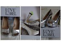 Love Label Silver/Metallic Platform Block heel shoes SIZE 7 **WORN TWICE**