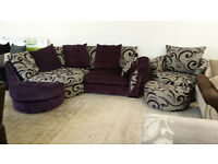 NEW Graded Purple Grey Cuddle Sofa and swivel chair Free Local Delivery